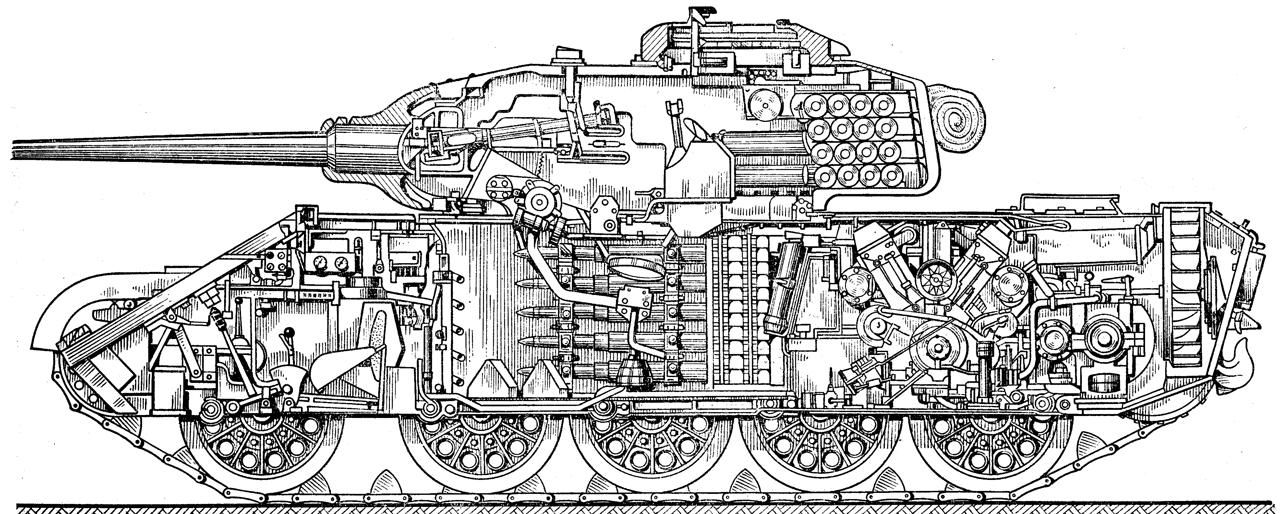 """Продольный разрез Т-44 """""""