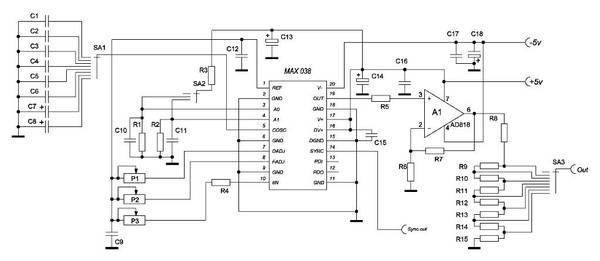 Генератор синусоидальных сигналов до 30мГц на микросхеме.  В микросхеме МАХ038 имеется...