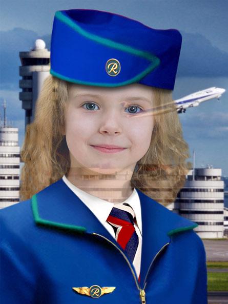 Стюардесса - фотошоп костюм для девочки